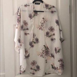 Tops - Floral Satin Kimono